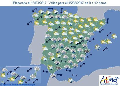 The Aemet forecast for this coming Wednesday.