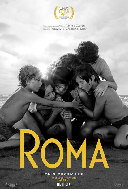 """""""The hug on the beach is a very emotional moment;"""" """"It's a work of art."""" These were some of the comments from the audience about the poster for 'Roma.'"""
