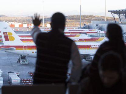 Planes from Iberia's fleet at Madrid's Barajas International Airport.