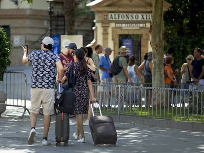 Tourists in Seville.