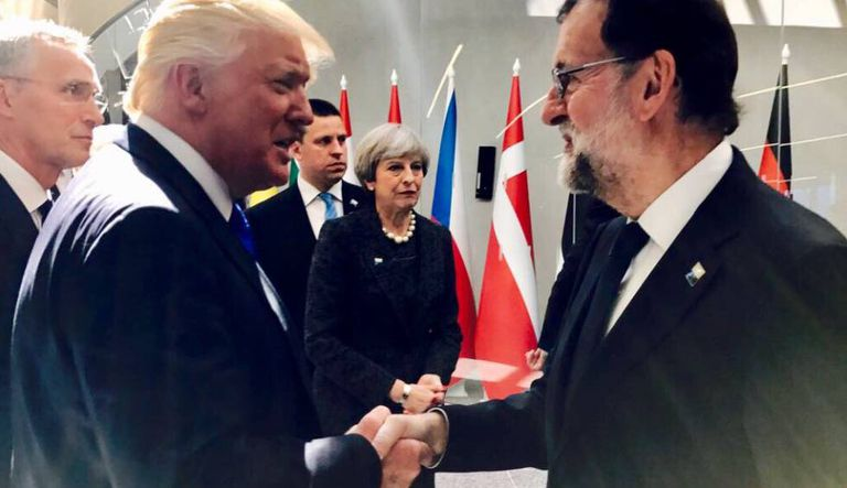 Spanish PM Mariano Rajoy greets Donald Trump at the NATO Summit in Brussels, in May.