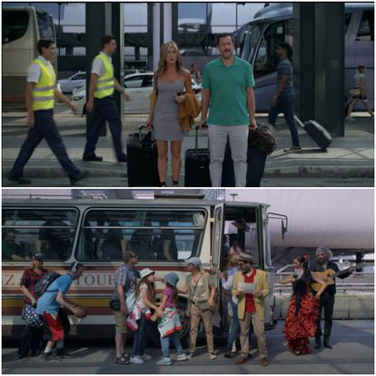 Two stills from 'Murder Mystery.' A flamenco dancer and a guitarist serenade the arrival of the bus, a dilapidated vehicle, like something out of the 1950s. All kinds of noisy people climb on board and naturally, Adam Sandler and Jennifer Aniston take flight without a backward glance.