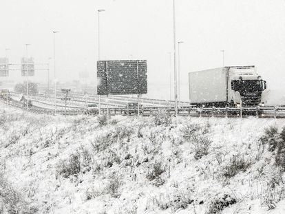 White-out conditions on a road in Burgos on March 8.