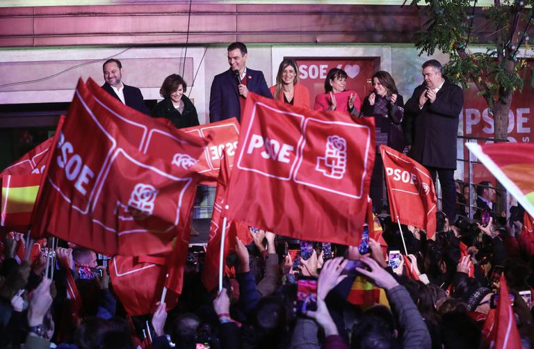 Pedro Sánchez celebrates the election results at the Socialist headquarters in Madrid.