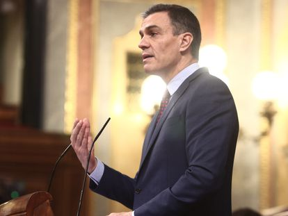 Spanish PM Pedro Sánchez addressing lawmakers on Wednesday.