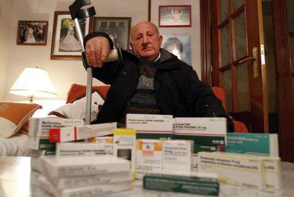 Francisco Barona, 70, travels from Madrid to neighboring Castilla-La Mancha to buy his medication to avoid prescription charges.