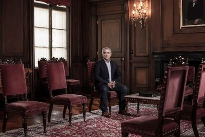 President Duque in his office after the interview with EL PAÍS.