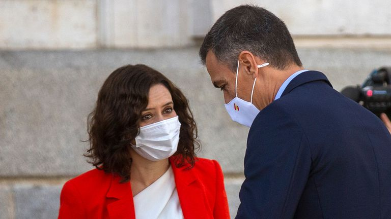 Madrid regional premier Isabel Díaz Ayuso and Spanish PM Pedro Sánchez on September 21.