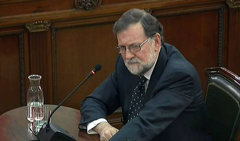 Ex-PM Mariano Rajoy giving witness testimony on Wednesday.