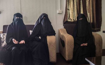 The three women in an ISIS camp in Syria.