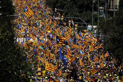 Thousands of people in the streets of Barcelona on Monday.