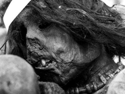 The mummy of the Inca boy sacrificed around the year 1500.