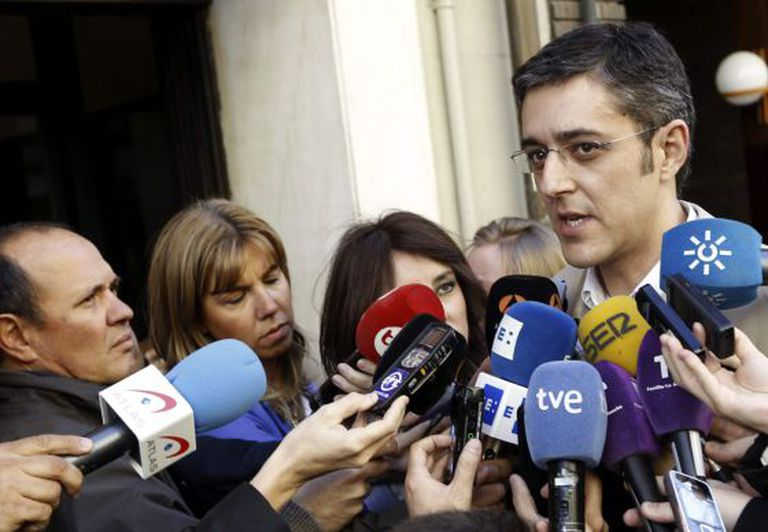 The secretary of the Socialist parliamentary group Eduardo Madina speaks to reporters at party headquarters in Madrid on Tuesday.