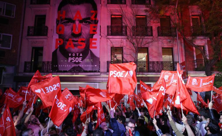PSOE supporters outside the party headquarters in Madrid.