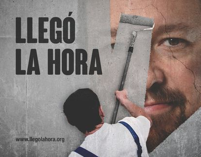 "Hazte Oír campaign poster against Unidas Podemos leader Pablo Iglesias. Message reads: ""It's time."""