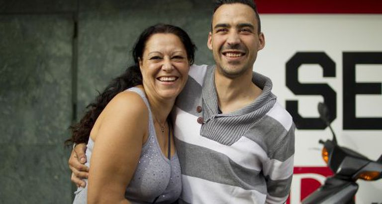 Adrián Manuel Moreno with his mother in Seville on Thursday.