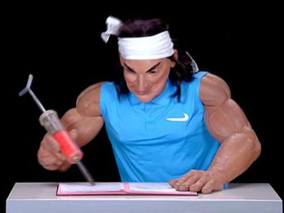 One of the sketches aired on French TV showed Nadal writing to Contador with a syringe.