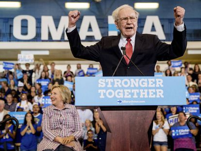 Warren Buffett, this Tuesday in Omaha with Hillary Clinton.