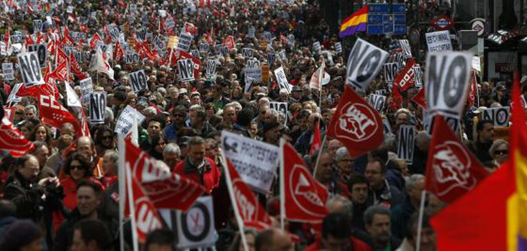 A protest in Madrid on Sunday against cuts to spending on education and healthcare.