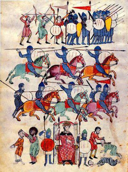 Medieval knights depicted in the work Beato de las Huelgas.