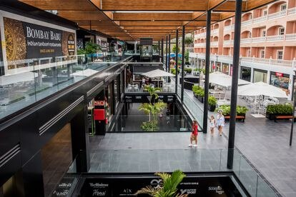 The main walkway at The Duke Shops, a shopping center in Adeje, on the island of Tenerife.