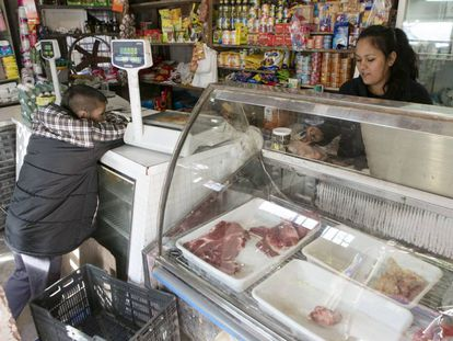 There is little meat on display at shantytown grocery stores because consumption has dropped.