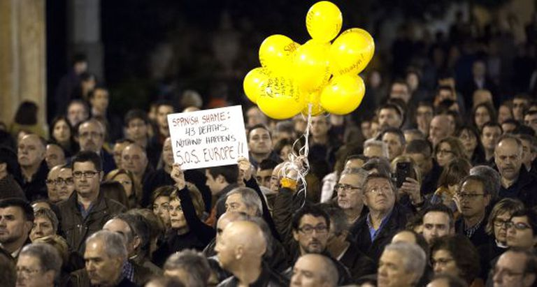 Demonstration held on January 3 in support of the Valencia metro victims.