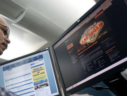 An internet user checks an online gambling site.