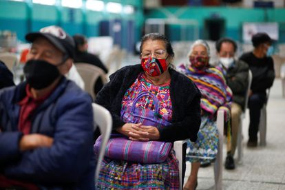 People waiting for their vaccine in San Pedro Sacatepéquez, Guatemala.