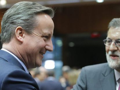 David Cameron and Mariano Rajoy in Brussels on Thursday.