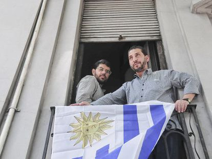 Two of the former Guantánamo detainees in Montevideo.