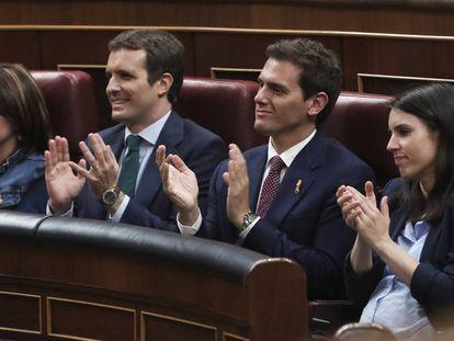 From left to right: PSOE vice-secretary Adriana Lastra; PP chief Pablo Casado; Ciudadanos leader Albert Rivera; and Unidas Podemos spokesperson Irene Montero.