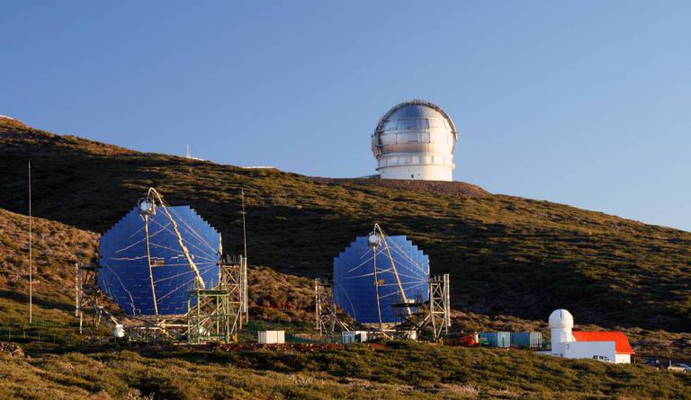 Telescopes at Roque de los Muchachos Observatory in La Palma.