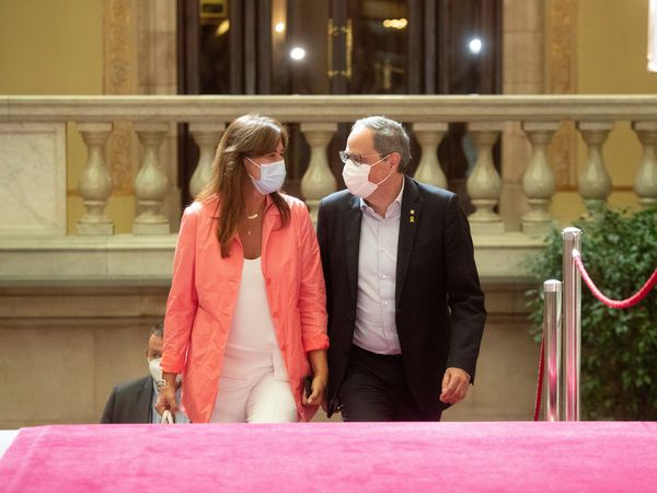 Together for Catalonia deputy Laura Borràs with Catalan premier Quim Torra.