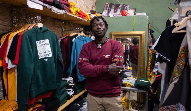 Papalae Abdoulaye at the Top Manta store.