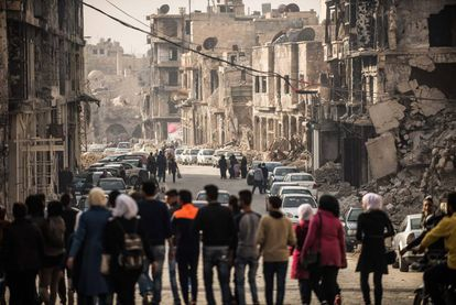 Refugees return to the war-torn city of Aleppo, Syria.
