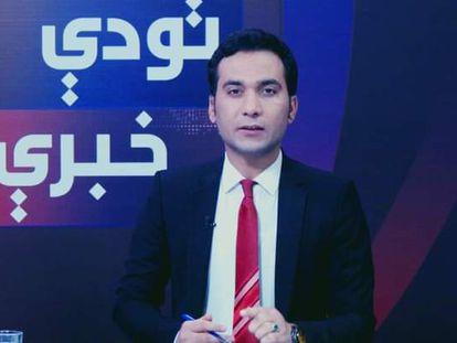 Saeed Shinwari on the set of ToloTV.