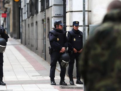 Police outside the former palace on Tuesday morning.