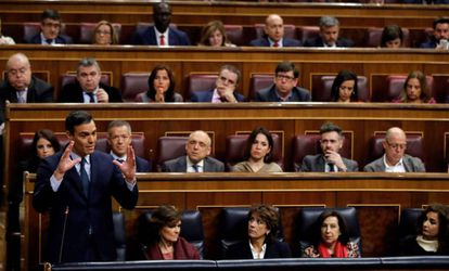 Pedro Sánchez speaks in Congress on Saturday.