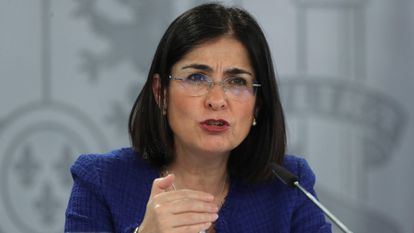 Health Minister Carolina Darias at a recent press conference.
