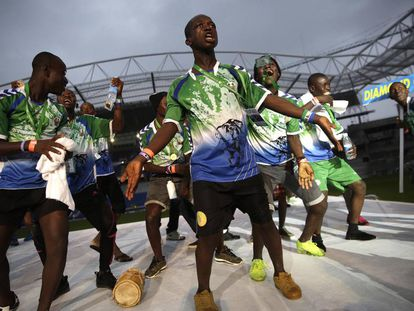 Players from the Sierra Leone soccer team.