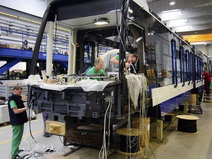 Skoda employees at a factory in Pilsen, Czech Republic.