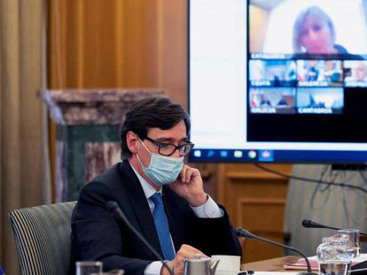 Spanish Health Minister Salvador Illa at a meeting of the Inter-territorial Health Committee on Wednesday.