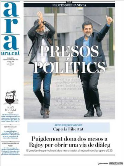 Front page of the 'Ara' newspaper this Wednesday with the headline 'political prisoners'