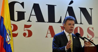 Santos speaks at an event commemorating the 25th anniversary of the death of liberal politician Luis Carlos Galán.