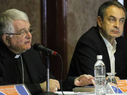 Former Spanish PM José Luis Rodríguez Zapatero and Monsignor Emil Paul Tscherrig on Monday.