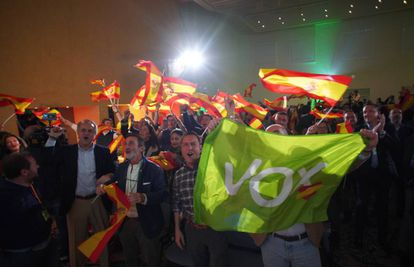 Vox supporters celebrate the election results.