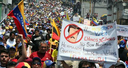 A demonstration against the Maduro government in San Cristóbal.