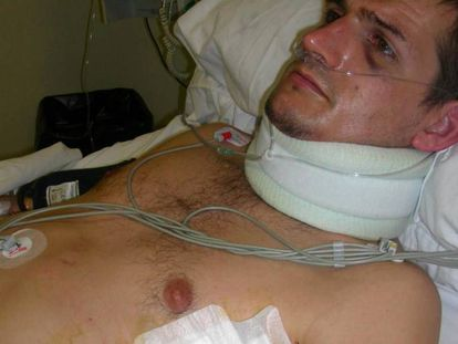 Portu in hospital, the day after his arrest.