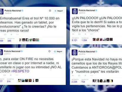 Some of the National Police's Twitter messages.